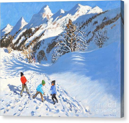 Snowball Canvas Print - Snowballing, La Clusaz, France by Andrew Macara