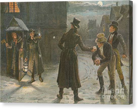 Snowball Canvas Print - Snowballing The Watchmen by George Goodwin Kilburne