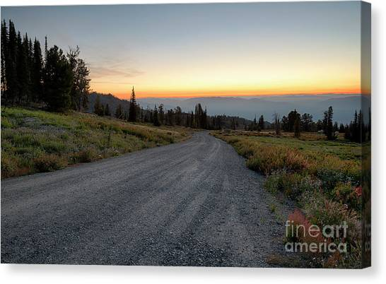 Boise National Forest Canvas Print - Snowbank Mountain Road by Idaho Scenic Images Linda Lantzy