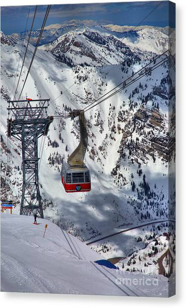Snowbird Tram Portrait Canvas Print