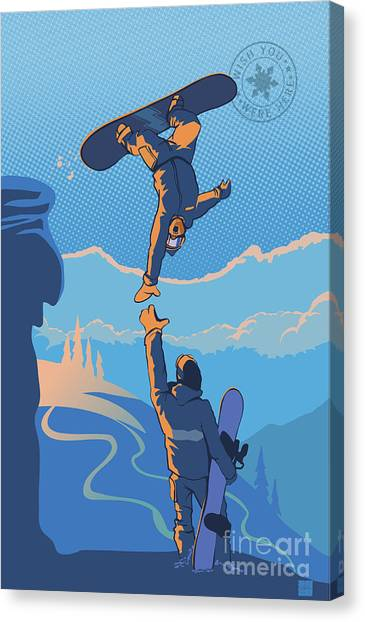 Snowboarding Canvas Print - Snowboard High Five by Sassan Filsoof