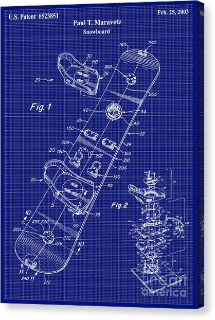 Snowboarding Canvas Print - Snowboard Patent Blueprint Drawing Lt by Jon Neidert
