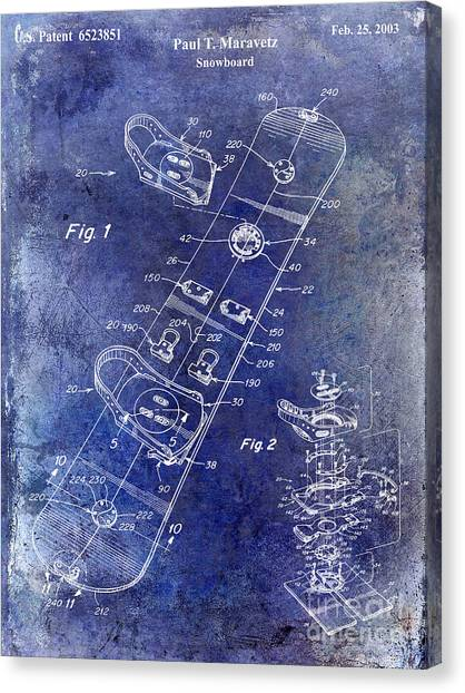 Snowboarding Canvas Print - Snowboard Patent Drawing Blue by Jon Neidert