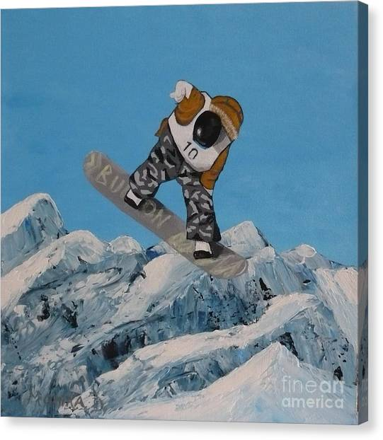 Snowboarder-top View Canvas Print