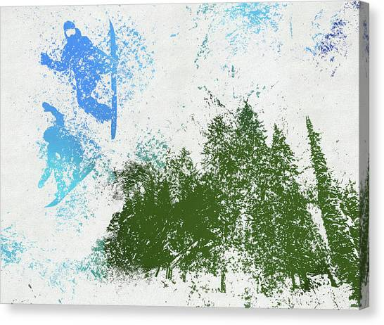 Freeriding Canvas Print - Snowboarders by Dan Sproul
