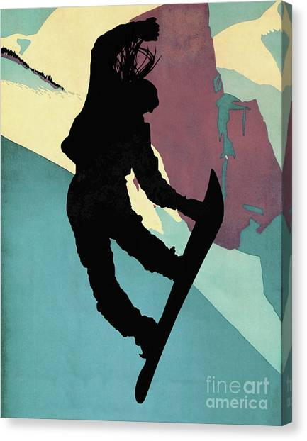 Freeriding Canvas Print - Snowboarding Betty, Morning Light by Tina Lavoie