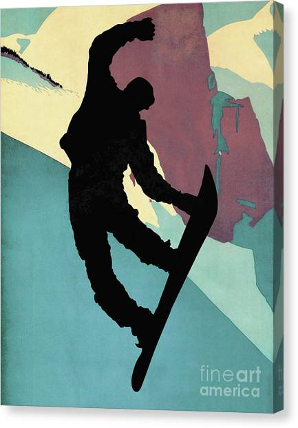 Freeriding Canvas Print - Snowboarding Dude, Morning Light by Tina Lavoie