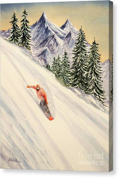 Jibbing Canvas Print - Snowboarding Free And Easy by Bill Holkham