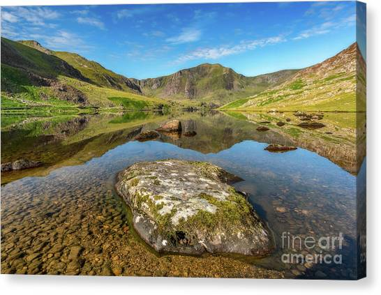 Tryfan Canvas Print - Snowdonia Mountain Reflections by Adrian Evans