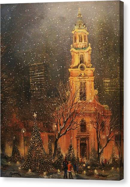 Cathedrals Canvas Print - Snowfall In Cathedral Square - Milwaukee by Tom Shropshire