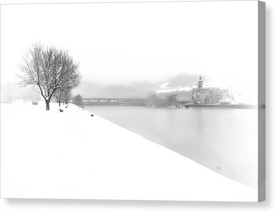 Canvas Print featuring the photograph Snowfall On The River Danube At Ybbs by Menega Sabidussi