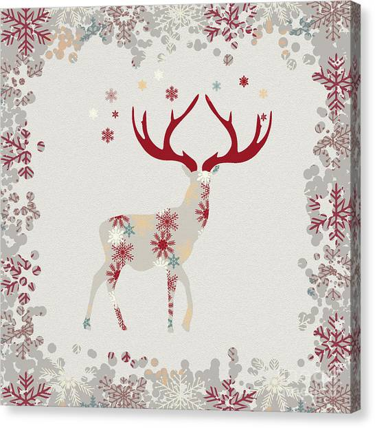 Canvas Print - Snowflake Christmas Stag II by Amanda Lakey