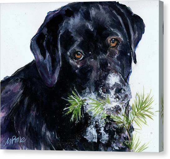 Dogs In Snow Canvas Print - Snowflake by Molly Poole