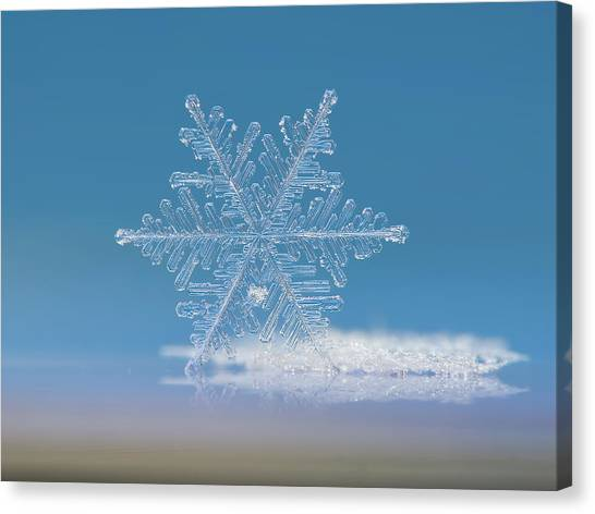 Canvas Print featuring the photograph Snowflake Photo - Cloud Number Nine by Alexey Kljatov