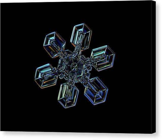 Ice Canvas Print - Snowflake Photo - High Voltage IIi by Alexey Kljatov