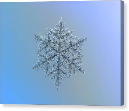 Canvas Print featuring the photograph Snowflake Photo - Majestic Crystal by Alexey Kljatov