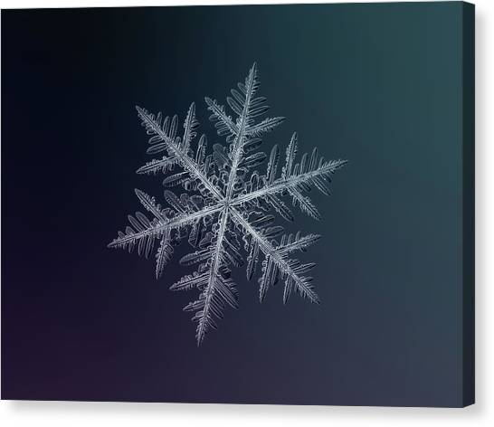 Canvas Print featuring the photograph Snowflake Photo - Neon by Alexey Kljatov