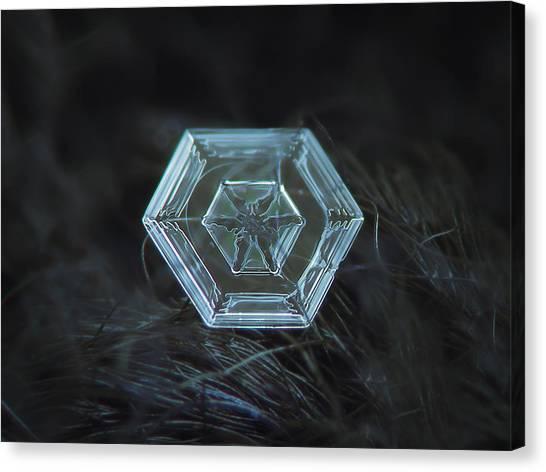 Snowflake Photo - Radiant Green Canvas Print