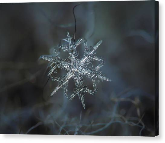 Canvas Print featuring the photograph Snowflake Photo - Rigel by Alexey Kljatov