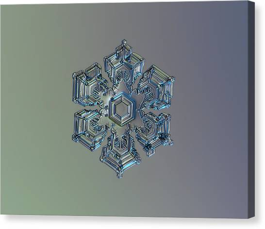 Snowflake Photo - Silver Foil Canvas Print
