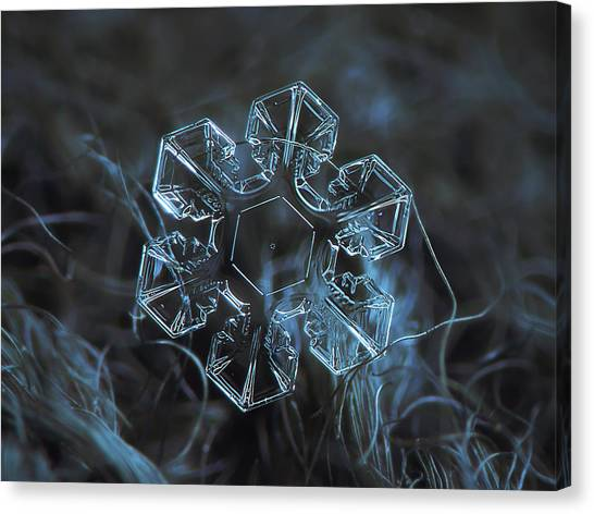 Canvas Print featuring the photograph Snowflake Photo - The Core by Alexey Kljatov