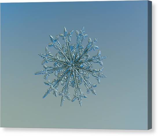 Canvas Print featuring the photograph Snowflake Photo - Twelve Months by Alexey Kljatov