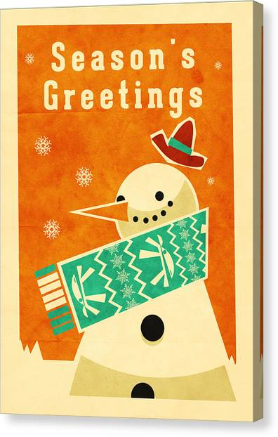 Santa Claus Canvas Print - Snowman 2 by Daviz Industries