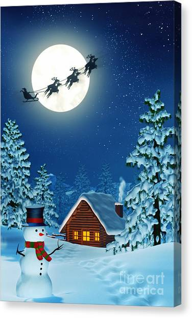 Rolling Hills Canvas Print - Snowman And Santa And A Cabin In Moonlit Winter Landscape At Night by Sara Winter