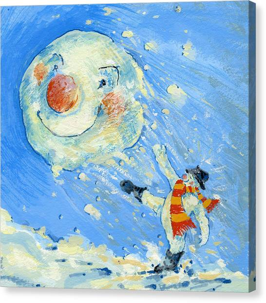 Snowball Canvas Print - Snowman And Snowball  by David Cooke