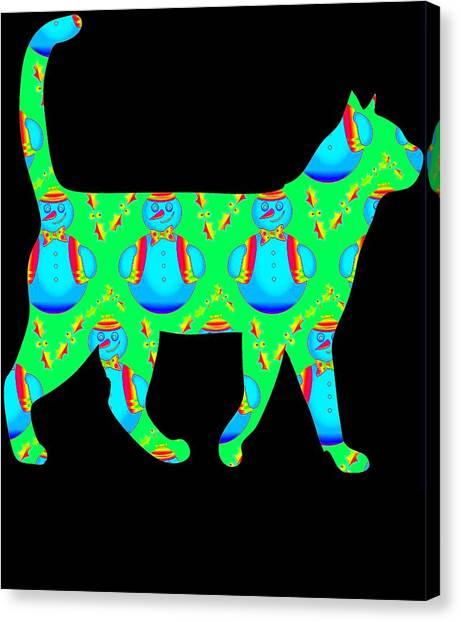 Ocicats Canvas Print - Snowman Cat Green by Kaylin Watchorn