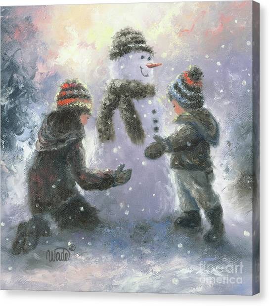 Big Sister Canvas Print - Snowman Girl And Boy by Vickie Wade