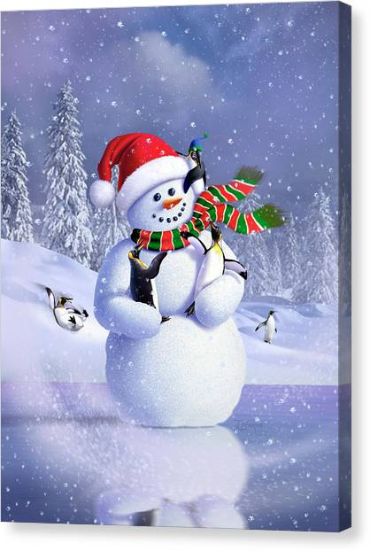 Penguins Canvas Print - Snowman by Jerry LoFaro