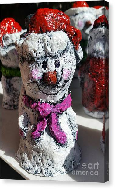 Canvas Print featuring the sculpture Snowman Pink by Vickie Scarlett-Fisher