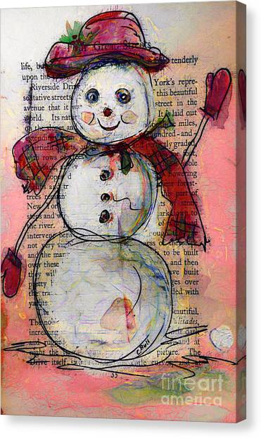 Snowman With Red Hat And Mistletoe Canvas Print
