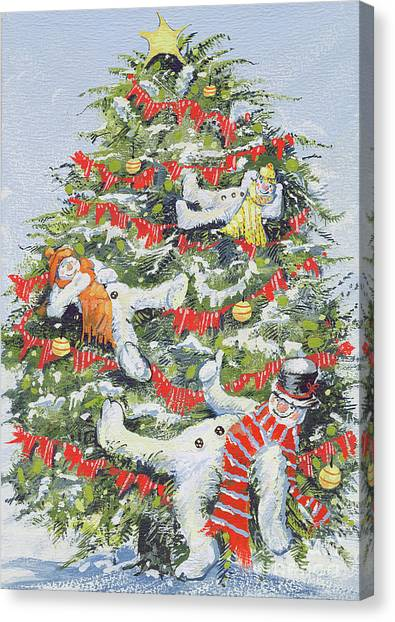 Drunk Canvas Print - Snowmen In A Christmas Tree by David Cooke