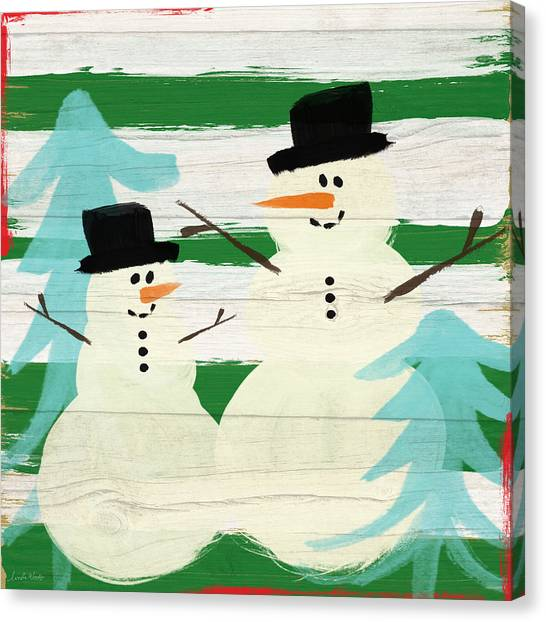 Christmas Art Canvas Print - Snowmen With Blue Trees- Art By Linda Woods by Linda Woods