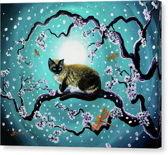 Siamese Canvas Print - Snowshoe Cat And Dragonfly In Sakura by Laura Iverson