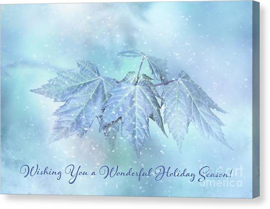 Snowy Baby Leaves Winter Holiday Card Canvas Print