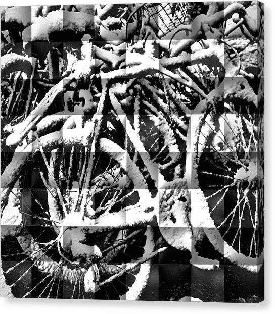 Snowy Bike Canvas Print