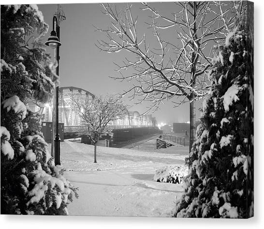Winter Scenery Canvas Print - Snowy Bridge With Trees by Jeremy Evensen