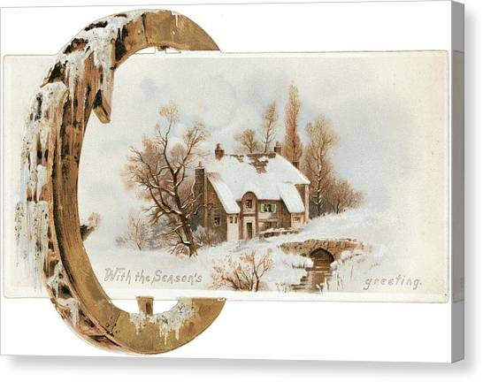 Snowy Cottage Landscape With Wooden Canvas Print by Gillham Studios