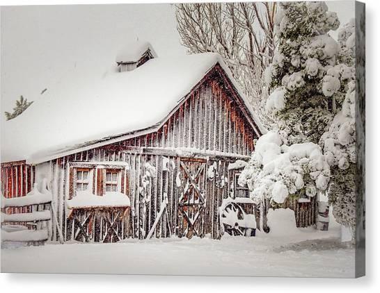 Snowy Country Barn Canvas Print