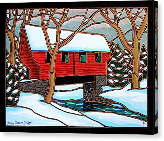 Snowy Covered Bridge Canvas Print