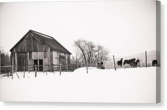 Snowy Day At The Farm Canvas Print