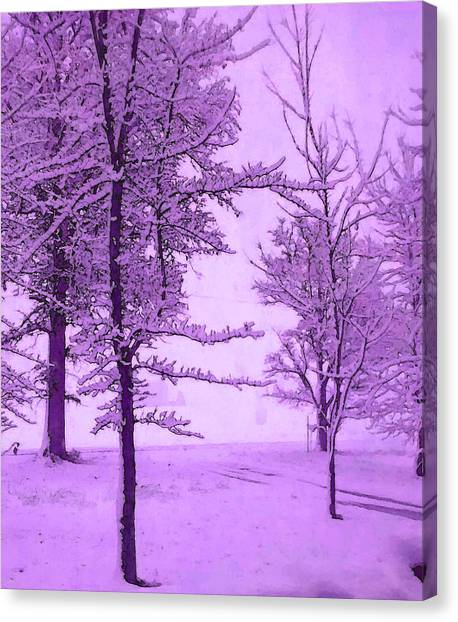 Canvas Print featuring the photograph Snowy Day In Purple by Michelle Audas
