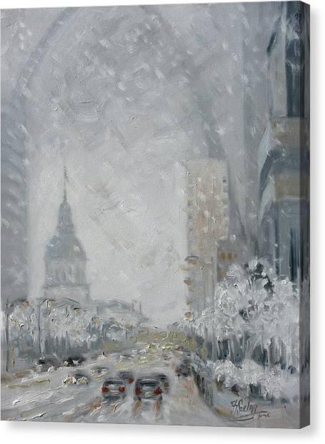 Canvas Print - Snowy Day - Market Street Saint Louis by Irek Szelag