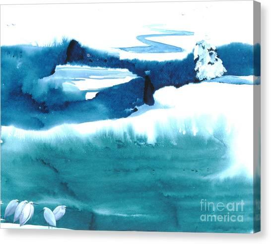 Snowy Egrets Canvas Print by Mui-Joo Wee