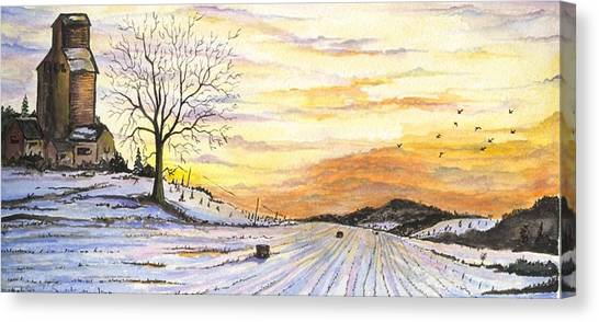Canvas Print featuring the digital art Snowy Farm by Darren Cannell