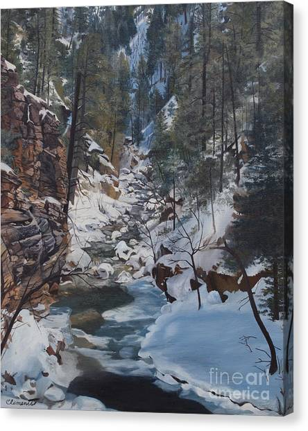 Snowy Forest Stream Canvas Print