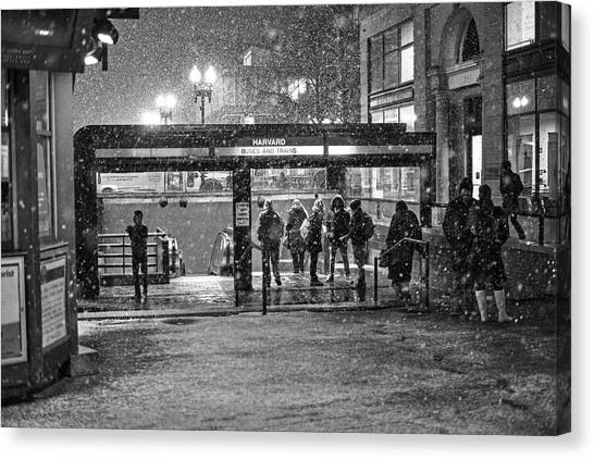 Snowy Harvard Square Night- Harvard T Station Black And White Canvas Print